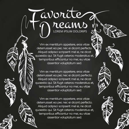 White hand drawn feathers chalkboard poster and banner. Vector illustration Vektorové ilustrace