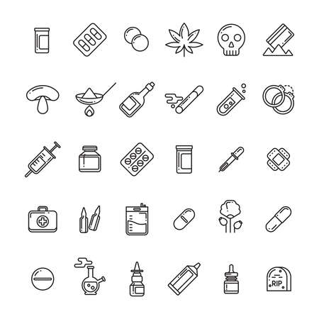 Legal and illegal medical preparations, pills, drugs, tablets linear icons set. Vector illustration
