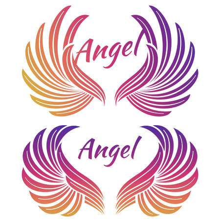 Bright angel wings emblem isolated on white background. Vector illustration
