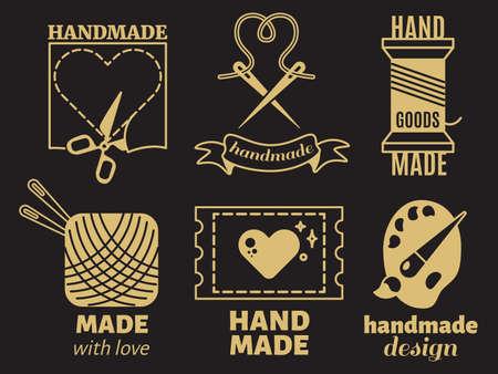 Vintage hipster handiwork, handmade, vector badges, labels, on black backdrop. Handmade and sewing, needlework and handiwork craft