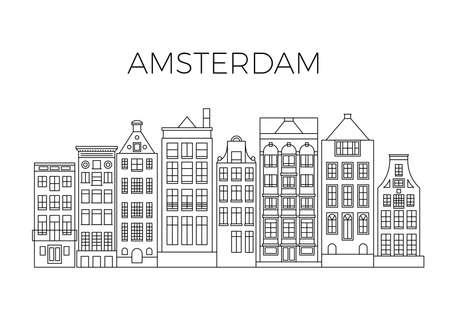 Amsterdam houses city panorama. Dutch street buildings vector skyline. Skyline street city architecture line style illustration Vector Illustration