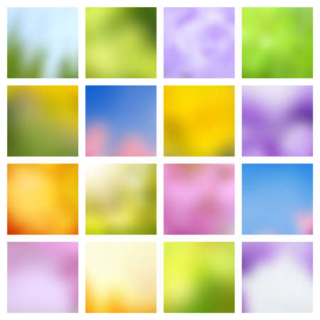 Abstract nature spring and summer green and blue blurred vector backgrounds. Summer and spring wallpaper nature collection illustration Vecteurs