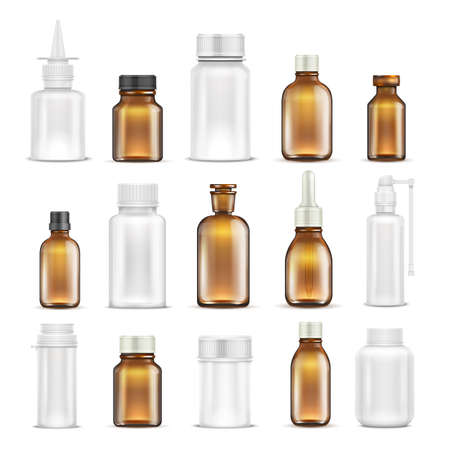 Medicine glass and plastic blank bottles isolated vector set. Bottle medicine container for care health, healthcare vitamin pharmaceutical illustration Ilustracje wektorowe