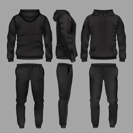 Black man sportswear hoodie and trousers vector mockup isolated. Sportswear with hoodie, male fashion clothes trousers and sweatpants illustration