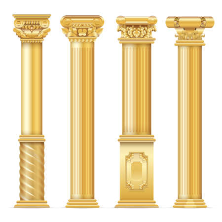 Classic antique gold columns vector set. Illustration of architecture column, architectural classic pillar
