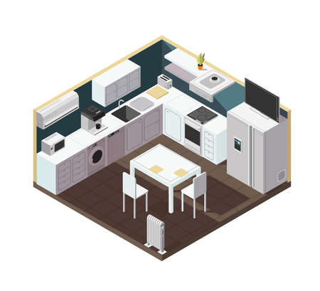 Isometric 3d kitchen interior with household appliance, equipment and furniture vector illustration. Kitchen and stove, household isometric equipment for cooking Vector Illustratie