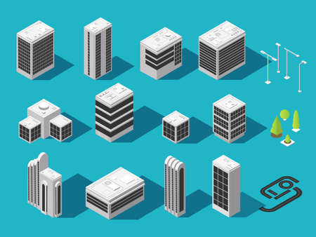 Isometric building for 3d city map vector set. Isometric city house and architecture building illustration