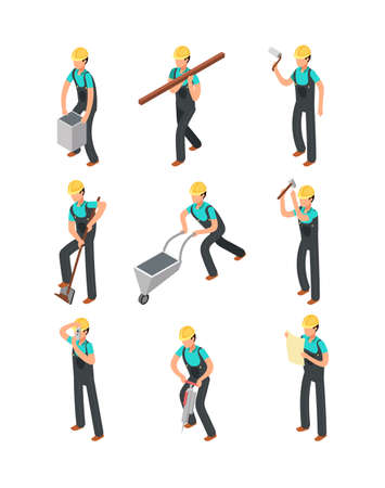 Builder workers, construction professionals isolated 3d people vector set. Worker professional builder, carpenter and workman illustration