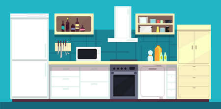 Cartoon kitchen interior with fridge, oven and other home cooking appliances vector illustration. Kitchen and stove interior, cooking and fridge domestic