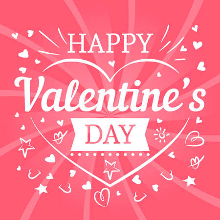 Valentines day pink postcard template with hearts and typography sign. Vector illustration