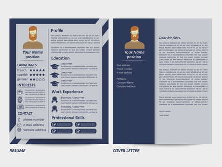 Modern style male resume and cover letter template. Vector illustration