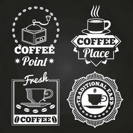 Coffee market shop and cafe label collection on chalkboard. Vector illustration Vetores