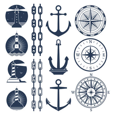 Nautical logos and elements set - compass lighthouses anchor chains. Vector illustration
