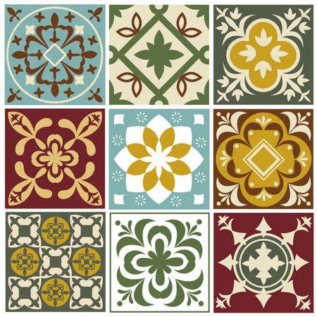 Portuguese tiling vector patterns. Old mediterranean tile prints. Ceramic square arabesque pattern color, mediterranean vintage decor and patchwork illustration