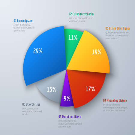 Business 3d pie info chart for presentation and office work. Infographic vector element. Info and infographic data in round colored diagram illustration