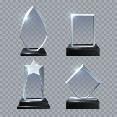 Crystal glass blank trophy awards isolated vector templates collection. Trophy glass prize, base panel achievement illustration Vector Illustratie