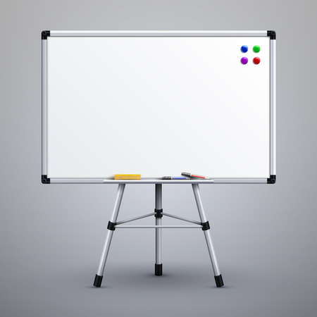 Office presentation whiteboard on tripod. Blank classroom white noticeboard 3d vector illustration. White board for presentation on tripod