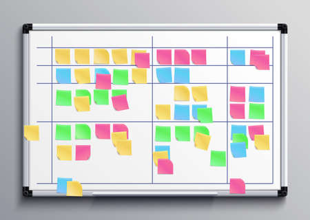 Meeting white board with color stickers. Scrum task board with sticky notes of daily plan vector illustration. Sticker board for planning teamwork