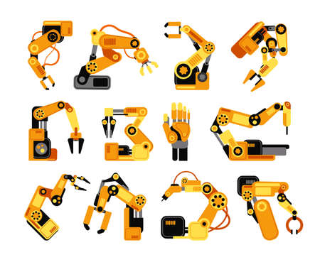 Factory robot arms manufacturing industrial equipment vector set. Illustration of robot arm equipment for factory industry Ilustração Vetorial