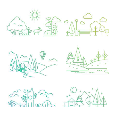 Bright nature landscape outline icons with tree, plants, mountains, river. Vector illustration