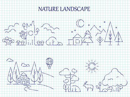 Hand drawn nature landscape line set on page notebook. Vector illustration