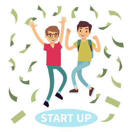 Happy successful young students in money rain. Start up concept. Vector illustration Vektorové ilustrace