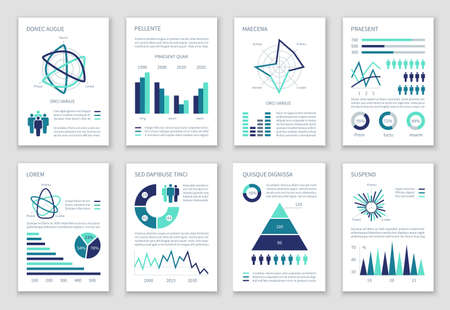 Multipurpose marketing vector infographics with charts, option graphs and people demographic icons. Presentation graph and infographic, multipurpose template chart information illustration