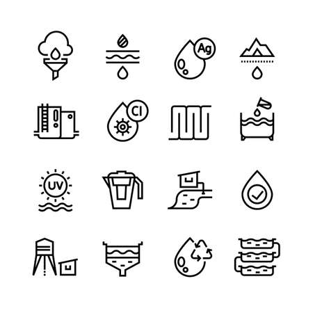 Effluent water treatment. Water purification linear vector icons. Illustration of purification sewer water, sewage filtered