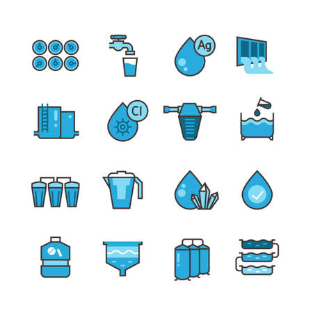 Dirty effluent water treatment plant and water filter for sewage sludge vector icons set. Sewage water, system purification illustration Vecteurs