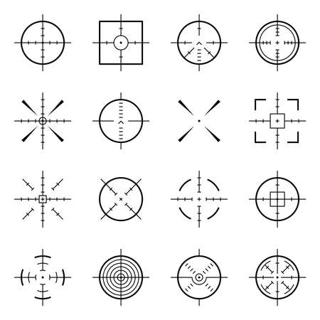 Unusual bullseye, accurate focus symbols. Precision aims, shooter target vector icons. Illustration of accuracy center, accurate target, aim to bullseye