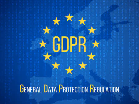 Gdpr general data protection regulation. Internet business safety vector background. Illustration of gdpr banner, protection and security