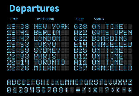 Departures and arrivals airport digital board vector template. Airline scoreboard with led letters and numbers. Airport display digital, scoreboard panel board illustration Vektoros illusztráció