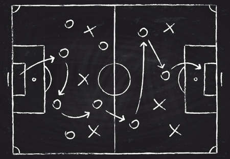 Soccer game tactical scheme with football players and strategy arrows. Vector chalk graphic on black board Vecteurs