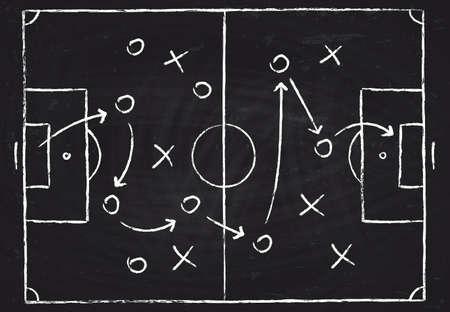 Soccer game tactical scheme with football players and strategy arrows. Vector chalk graphic on black board Vektoros illusztráció