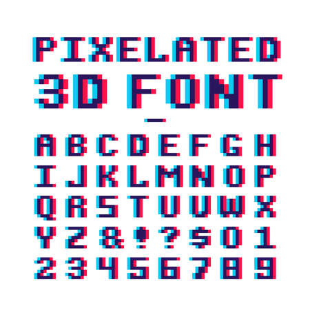 Video game pixelated 3d font. 8 bit pixel art old school latin alphabet with anaglyph distortion effect. Abc retro for game, alphabet pixel and numbe, 8-bit illustration Ilustración de vector
