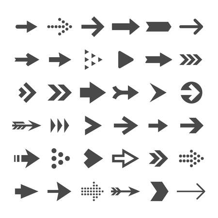 Arrow button icons. Right arrowhead signs. Rewind and next vector symbols. Set of arrow right and forward, directional and orientation pointer illustration