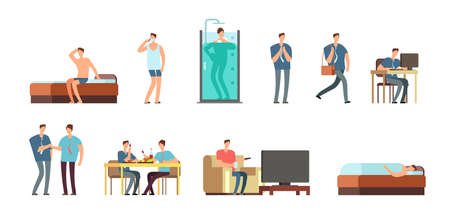 Man in everyday life. People daily routine vector cartoon businessman characters set. Work character everyday, man life and business illustration