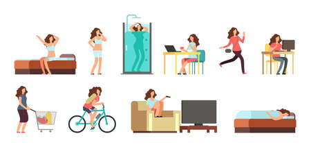 Smiling happy woman in everyday life. Active girl normal daily routine vector cartoon lifestyle characters set. Illustration daily, everyday life girl, sleeping and shower, breakfast and shopping Vetores