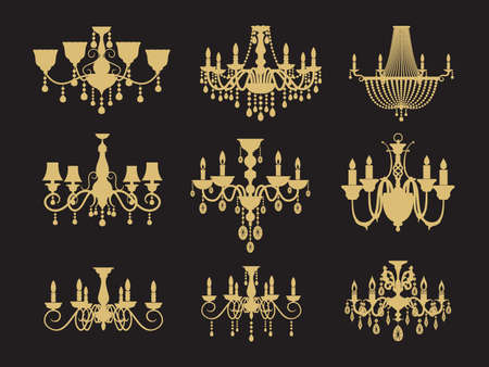 Set of vintage chandeliers isolated on black background. Vector lamp for interior, antique and luxury illustration Vettoriali