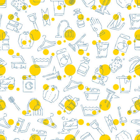 Cleaning, washing, housework line style seamless background pattern design. Vector illustration