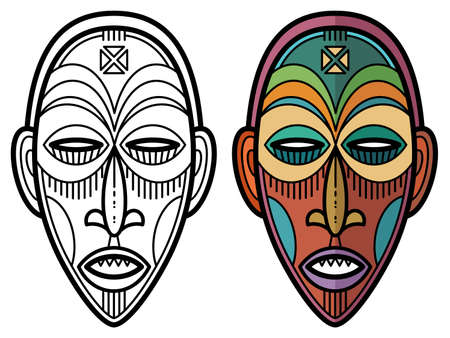 Indian aztec, african, mexican historic tribal mask coloring page. Vector illustration