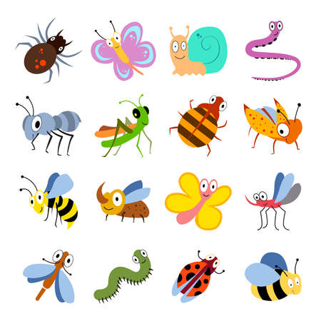 Cute and funny bugs, insects vector collection. Cartoon insects set. Illustration of insect grasshopper and caterpillar, ant and dragonfly
