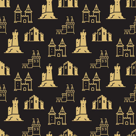Castles and fortress, bastions on black seamless background. pattern. Vector illustration