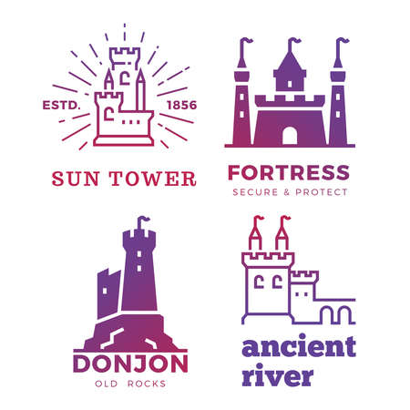 Fortress, medieval castles labels of set isolated on white background. Vector illustration