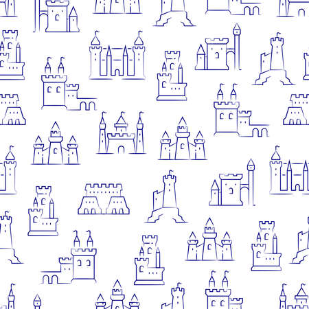 Medieval castles, fortress, bastions isolated on white seamless background pattern. Vector illustration