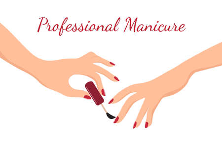 Young girl hands doing manicure with red nail polish. Beauty, body care and nail salon vector concept. Illustration of young woman hand, care and makeup