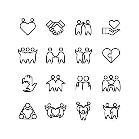 Friend, buddy and line icons. Friendship, harmony and friendly outline symbols isolated. Friends together, vector illustration