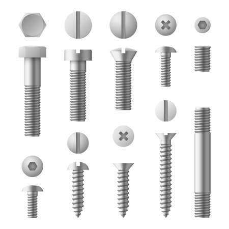 Realistic 3d metal bolts, nuts, rivets and screws isolated vector set. Illustration of elements for fix Vector Illustratie