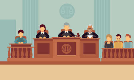 Courtroom interior with judges and lawyer. Justice and law vector concept. Justice and lawyer, court and jury illustration