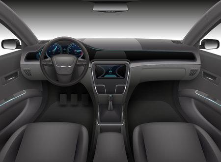 Realistic car interior with rudder, dashboard front panel and auto windshield vector illustration. Automobile interior, wind shield and dashboard Vektoros illusztráció